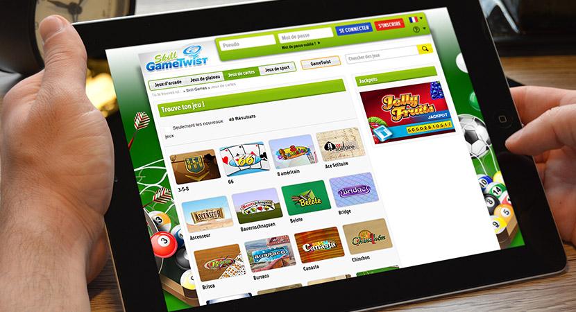 Gametwist jeux de carte, accès à la page de jeu