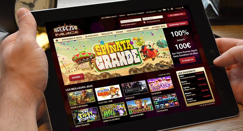 Tropezia Palace, plus de 1000 jeux disponibles avec 100€ de bonus