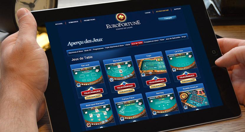 casino eurofortune jeux de table avec 1000€ gratuits pendant une heure
