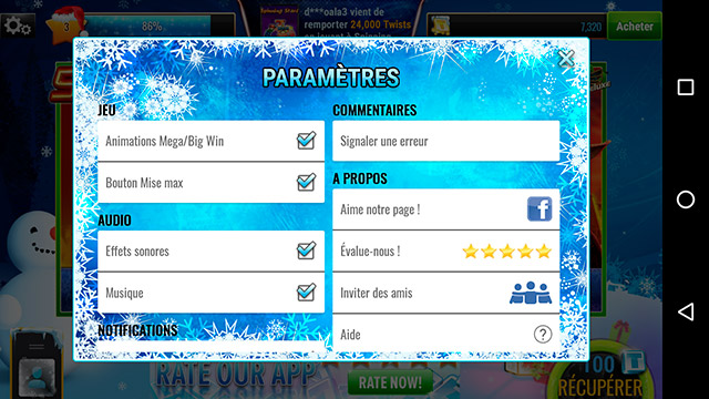 menu parametre application gametwist